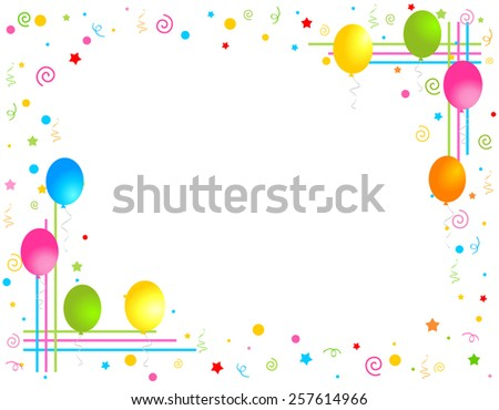 Colorful balloons isolated on white background illustration, Greeting card / invitation border and frame - stock vector