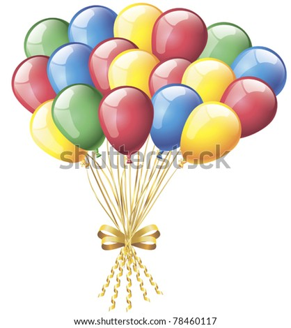 colorful balloons  on a white background - stock vector
