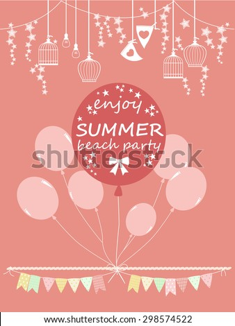 Colorful Balloons on pink background. Summer party greeting card. Full moon party. Vector illustration