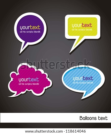 colorful balloons text over black background. vector - stock vector