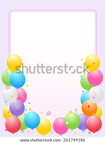 Colorful balloons with confetti border / frame illustration for birthday cards and party backgrounds - stock vector