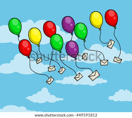 Colorful balloons with letters, envelopes attached to them, flying, vector illustration - stock vector