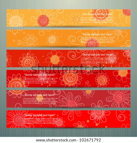 Colorful banner set with flowers, vector - stock vector