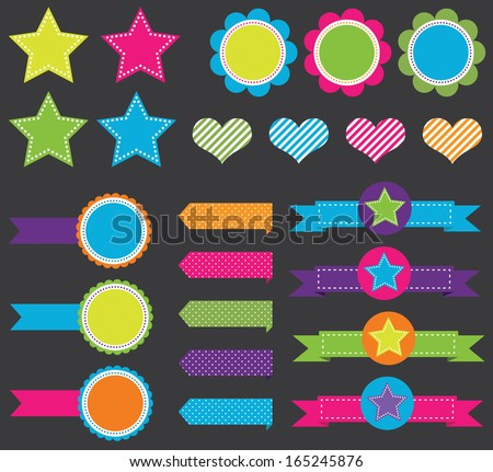Colorful Banners and Shape Set - stock vector