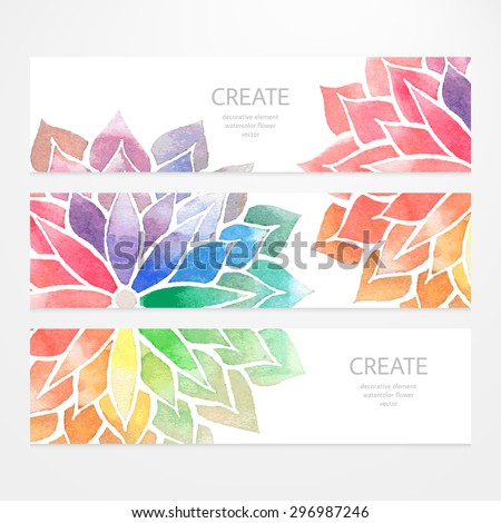 Colorful banners, flyers. Vector , templates of design with watercolor rainbow flowers on white background. Art concept. Flower crop, but you can find it in my portfolio - stock vector