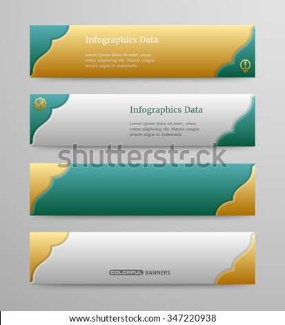 colorful banners template 3 d islamic design stock vector 347220938