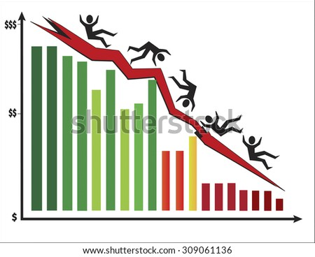 Colorful bar chart showing stock market crashing with men falling downing. Vector illustration format. Saved in illustrator 10.  - stock vector