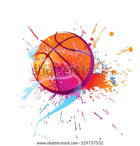 Colorful basket ball with spots and sprays on a white background . Vector illustration. - stock vector