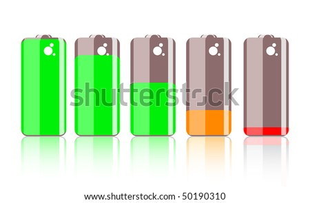 Colorful battery icon isolated on white background