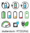 Colorful battery icons , recycling concept - stock photo
