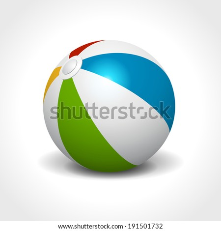 Colorful beach ball isolated on white summer holidays vector illustration - stock vector