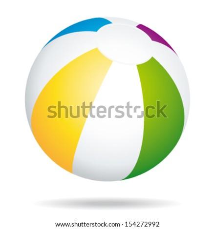 Colorful beach ball. Summer game. Vector holidays icon. - stock vector