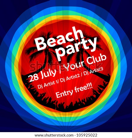 Colorful beach party flyer template - stock vector