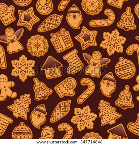 Colorful beautiful Christmas cookies icons seamless pattern. Sweet decorated new year backings background - gingerbread man star santa snowflake christmas tree ball sock. - stock vector