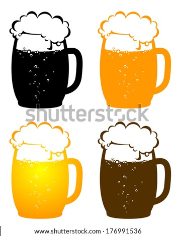 colorful beer mugs with bubbles on white background - stock vector