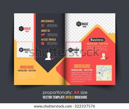 Colorful Bi-Fold Brochure Design. Corporate Leaflet, Cover Template - stock vector