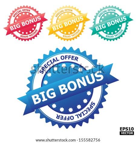 Colorful big bonus sign, rubber stamp, sticker, tag, label, icon, button, symbol.-eps10 vector - stock vector
