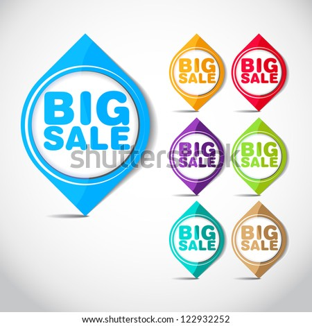 Colorful Big Sale tags - stickers for big sale