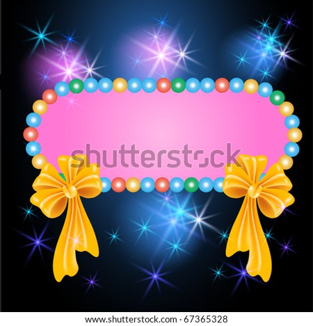 Colorful billboard with bows and glowing stars - stock vector