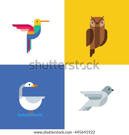 Colorful birds flat logo icons. Set of vector colorful birds illustration of hummingbird, owl, pigeon and swan. Isolated design elements and backgrounds.  - stock vector