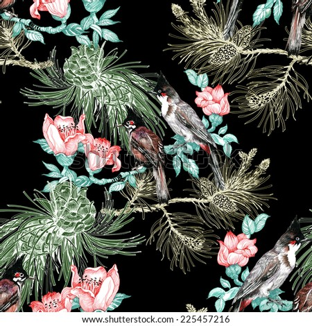 Colorful Birds on pine branch with cones and flowers seamless pattern on black background vector illustration - stock vector