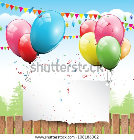 Colorful Birthday background with balloons and place for text - stock vector