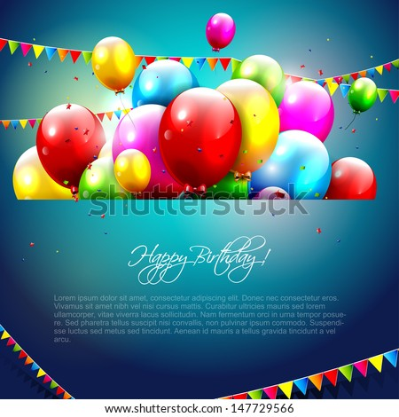 Colorful birthday background with copyspace  - stock vector