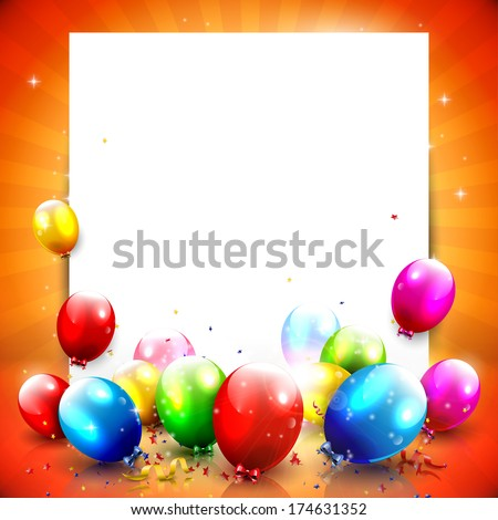 Colorful birthday background with empty paper and balloons  - stock vector