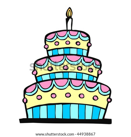 Colorful birthday cake on white background