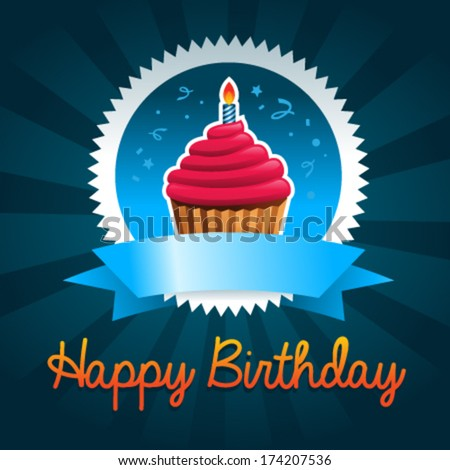 Colorful birthday card with cupcake - stock vector