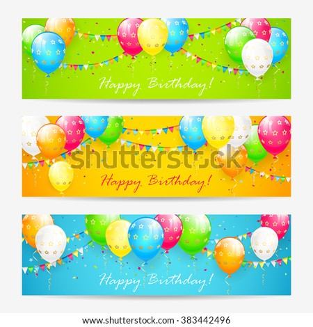 Colorful Birthday cards with balloons, confetti and holiday pennants, illustration. - stock vector