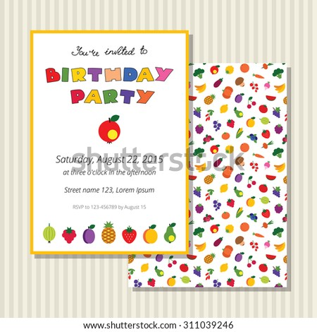 Colorful birthday invitation card with fruits and berries. Vector template. Card and background are on separated layers. - stock vector