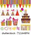 Colorful Birthday Set. Isolated on white background. Vector illustration - stock vector