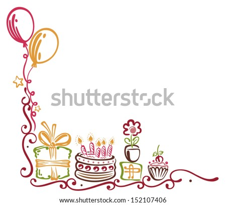 Colorful birthday tendril with balloons - stock vector