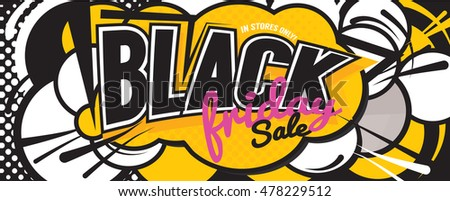 Colorful Black Friday Sale Comic Speech Style Banner Vector Illustration
