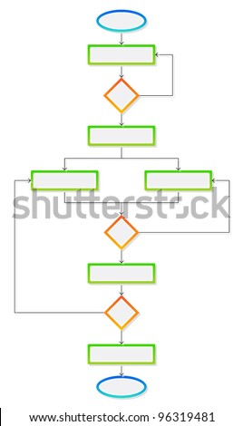 Colorful blank flowchart - stock vector