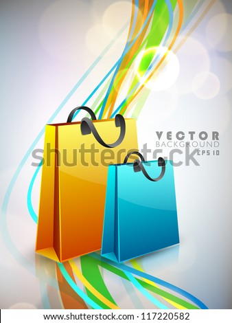 Colorful blank paper shopping bag on wave background. EPS 10. - stock vector