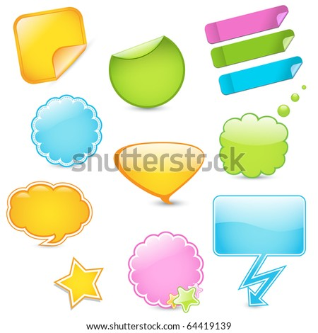 Colorful blank sticker graphics - stock vector