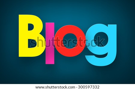 Colorful blog sign over dark blue background. Vector illustration.  - stock vector