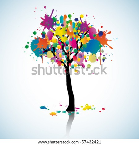 Colorful blot tree - stock vector