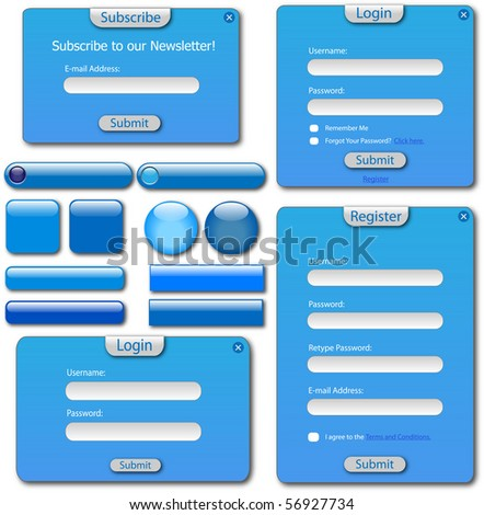 Colorful blue web forms and buttons. - stock vector