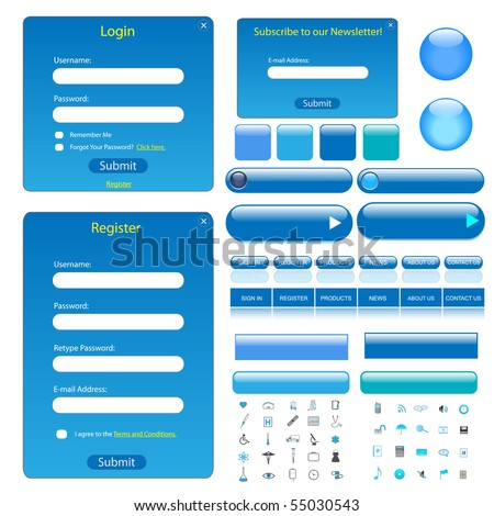 Colorful blue web template with forms, bars, buttons and many icons. - stock vector