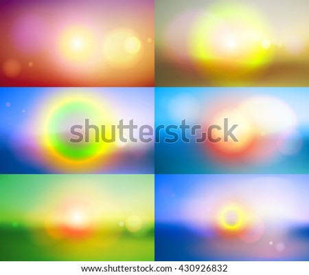 Colorful blurred backgrounds with lens effects. Vector illustration. - stock vector