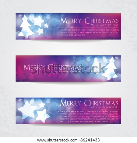 Colorful blurry Christmas banners with stars and Christmas tree - stock vector