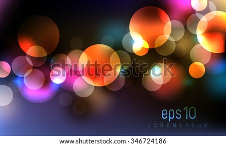 colorful bokeh celebration party night lights concept background - stock vector