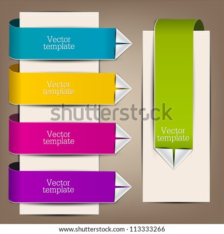 Colorful bookmarks and arrows for text - stock vector