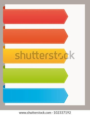 Colorful bookmarks banners for titles. Vector template set. - stock vector