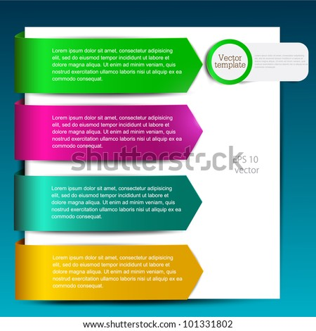 Colorful bookmarks for speech. Colorful paper arrows. - stock vector