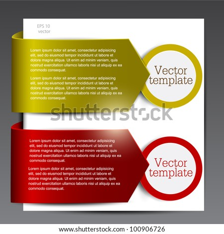 Colorful bookmarks for speech. Red and green arrows. - stock vector