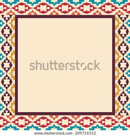 Colorful border in navajo style - stock vector